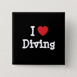 I love Diving heart custom personalized Pinback Button