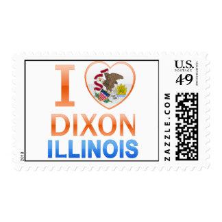 I Love Dixon, IL Postage Stamp