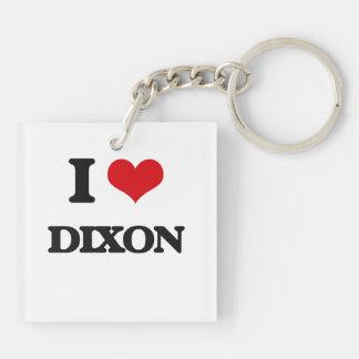 I Love Dixon Double-Sided Square Acrylic Keychain