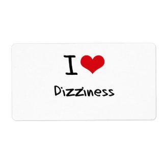 I Love Dizziness Shipping Label