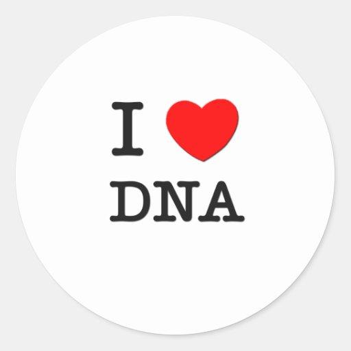 I Love DNA Classic Round Sticker