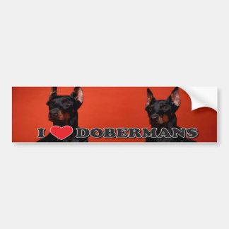 I Love Doberman Bumper Sticker Car Bumper Sticker