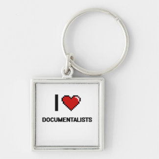 I love Documentalists Silver-Colored Square Keychain