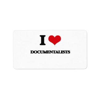 I love Documentalists Personalized Address Label