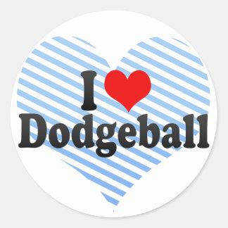 I Love Dodgeball Classic Round Sticker
