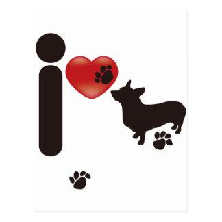 I LOVE DOG POSTCARD