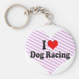 I love Dog Racing Basic Round Button Keychain