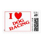 I Love Dog Racing Postage Stamps