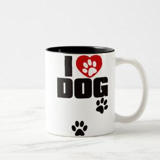 I LOVE DOG Two-Tone COFFEE MUG