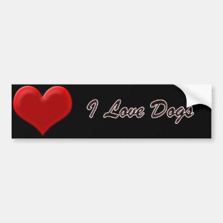 I Love Dogs Bumper Sticker