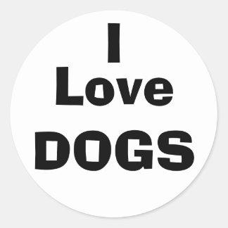I Love DOGS Classic Round Sticker