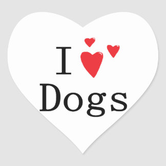 I Love Dogs Heart Sticker