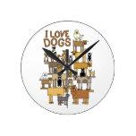 I LOVE DOGS ROUND CLOCK
