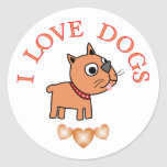 I Love Dogs Round Stickers
