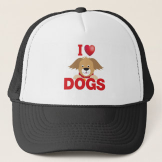 i love dogs trucker hat