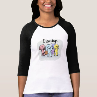 I love dogs with cartoon dogs tshirt