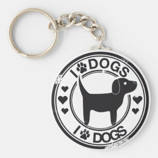 I love dogs with puppy basic round button keychain
