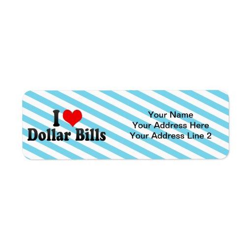 I Love Dollar Bills Return Address Labels