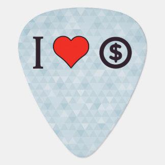 I Love Dollar Coin Guitar Pick