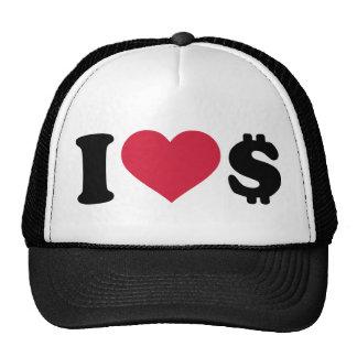 I love Dollar money Mesh Hats
