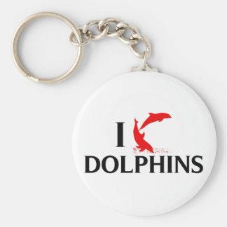I Love Dolphins Basic Round Button Keychain