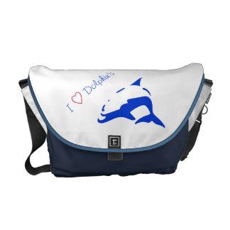 I Love Dolphin's Blue Messenger Bag