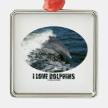 I Love Dolphins (Bottlenose Dolphin Breaching) Ornaments
