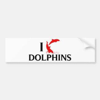 I Love Dolphins Car Bumper Sticker