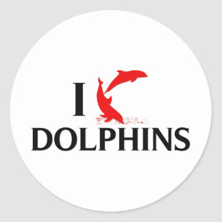 I Love Dolphins Classic Round Sticker