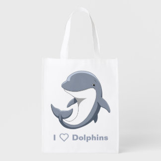 I Love Dolphins Cute Bottlenose Reusable Grocery Bag