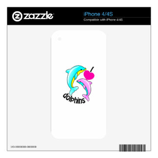 I Love Dolphins Decal For The iPhone 4S