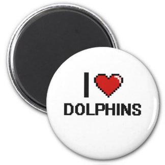 I love Dolphins Digital Design 2 Inch Round Magnet