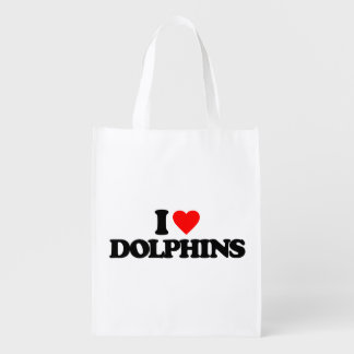 I LOVE DOLPHINS GROCERY BAG