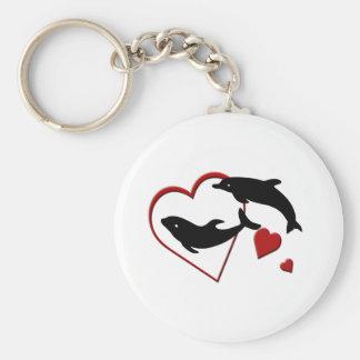 I Love Dolphins Hearts Key Chain
