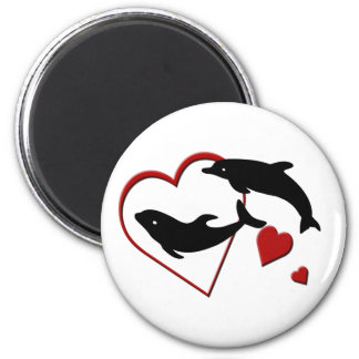 I Love Dolphins Hearts Magnet