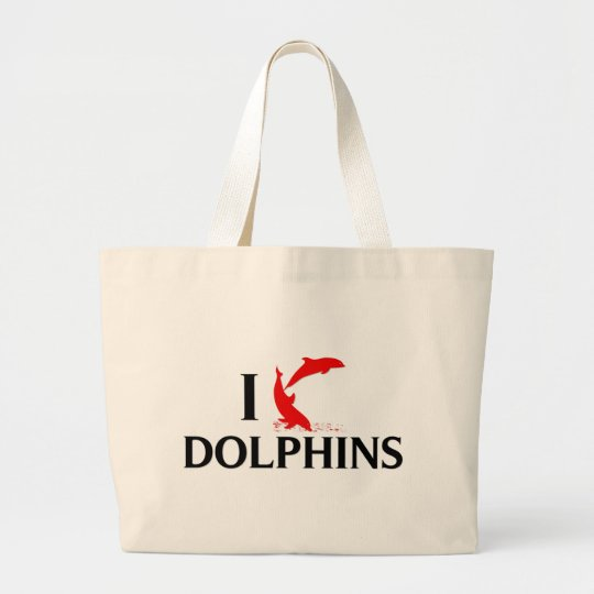 I Love Dolphins Large Tote Bag