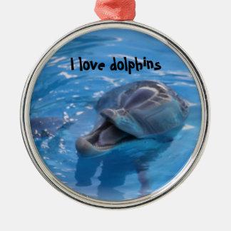 I love dolphins metal ornament