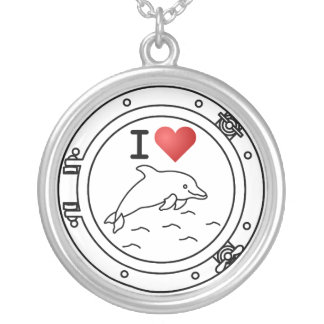 I Love Dolphins Round Pendant Necklace