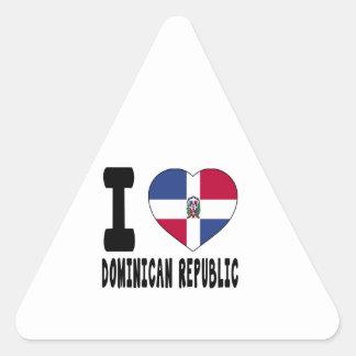 I Love Dominican Republic Triangle Sticker