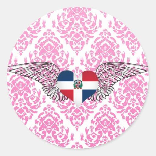 I Love Dominican Republic -wings Classic Round Sticker