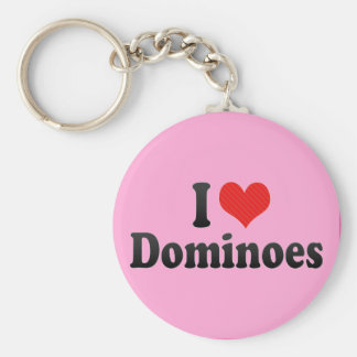 I Love Dominoes Basic Round Button Keychain
