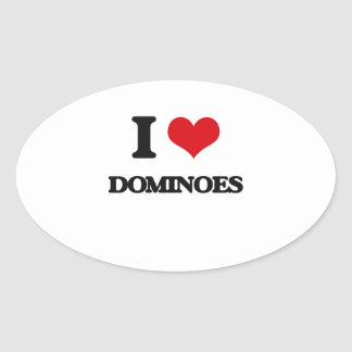 I Love Dominoes Oval Stickers