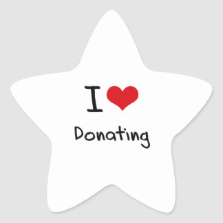 I Love Donating Star Sticker