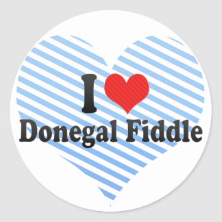 I Love Donegal Fiddle Round Stickers