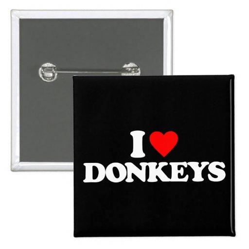 I LOVE DONKEYS BUTTONS