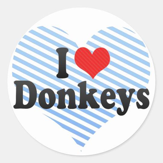 I Love Donkeys Classic Round Sticker
