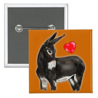 I Love Donkeys Demure Donkey Pinback Button