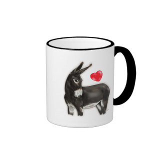 I Love Donkeys Demure Donkey Ringer Coffee Mug