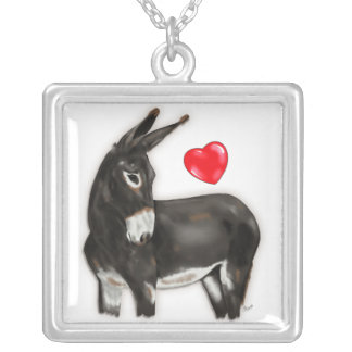 I Love Donkeys Demure Donkey Silver Plated Necklace