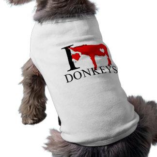 I Love Donkeys Doggie's Pet Tshirt